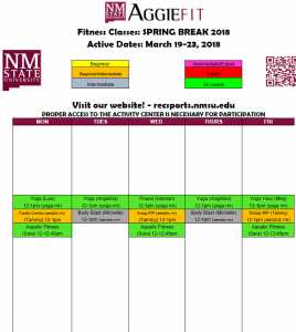 Schedule of Spring Break classes available at the Activity Center