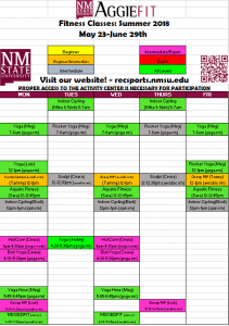 AggieFit Summer May23 to June 29th schedule